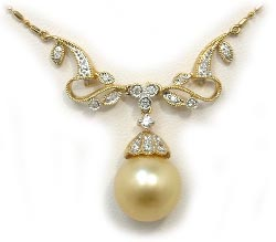 Golden South Sea Pearl Necklace with Diamonds