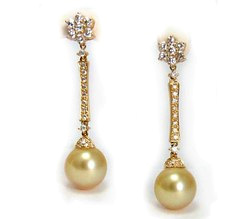 Golden South Sea Pearl Earrings with Diamonds