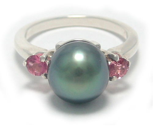 Tahitian Pearl Ring with Pink Tourmalines
