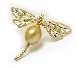 Golden South Sea Pearl Brooch