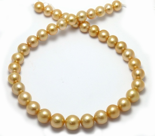 near round golden South pearl necklace