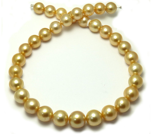 Deep  golden South pearl necklace