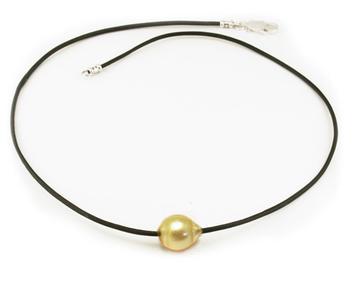 Gold Pearl on Leather Necklace