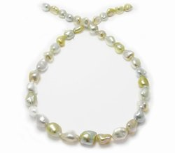 White and Golden South Sea Keshi Pearl Necklace