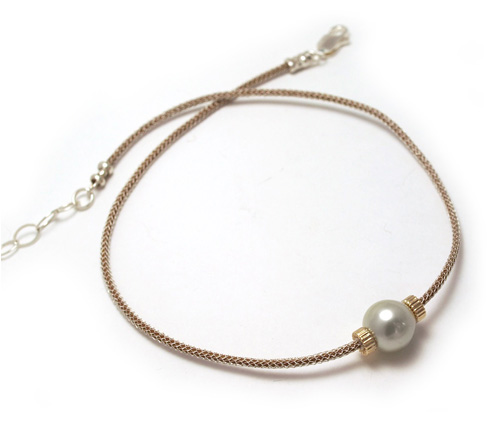 South Sea Pearl Solitaire Necklace on Leather Cord