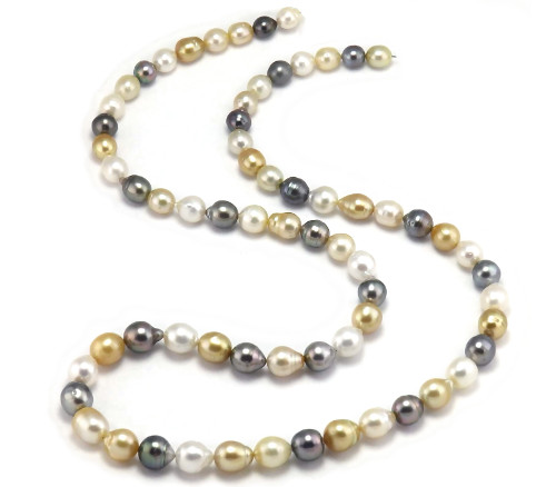 Multi Color South Sea Pearl and Tahitian Pearl necklace