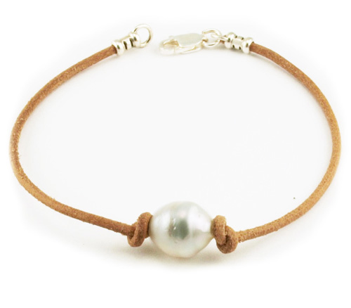 White South Sea Pearl on Leather Bracelet