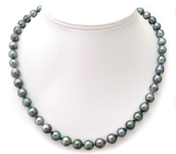 Tahitian Pearl Necklace with Blue-Gray Overtones