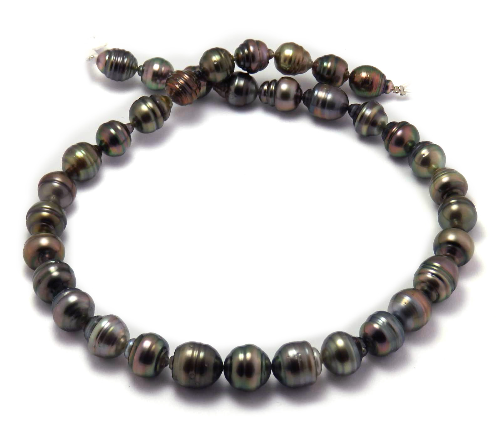 Burgundy Tahitian Pearl Necklace with Semi Baroque ...