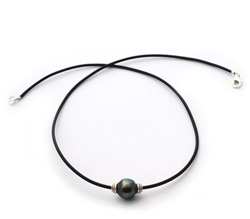 Rubber cord Tahitian Pearl Necklace