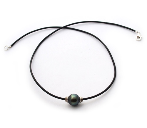 Tahitian Pearl on Rubber Necklace