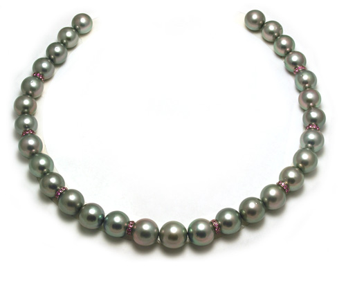 Tahitian pearl necklace with pink sapphire rondels and round pearls