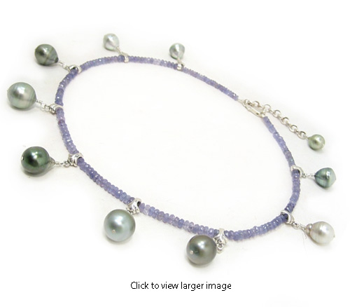 Tahitian Pearl Necklace With Tanzanite Beads