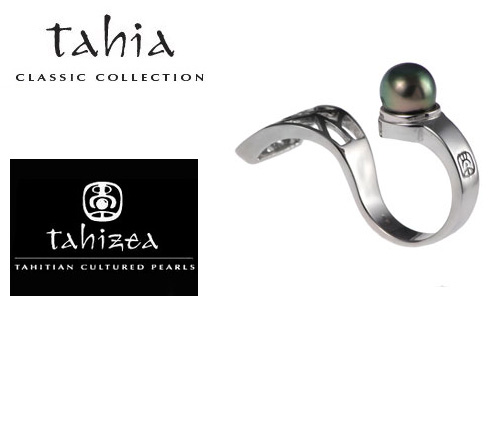 Tahitian Pearl two finger  Rings in Sterling Silver